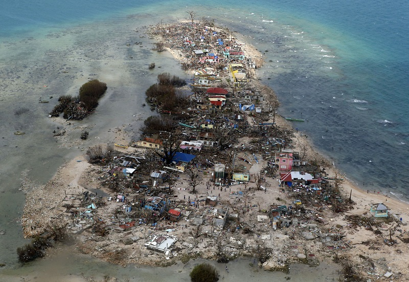An aerial view of a coastal town, devastated by super Typhoon Haiyan, in Samar province in central Philippines