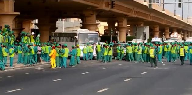 Riot police brought in as labourers hold strike near Dubai Mall